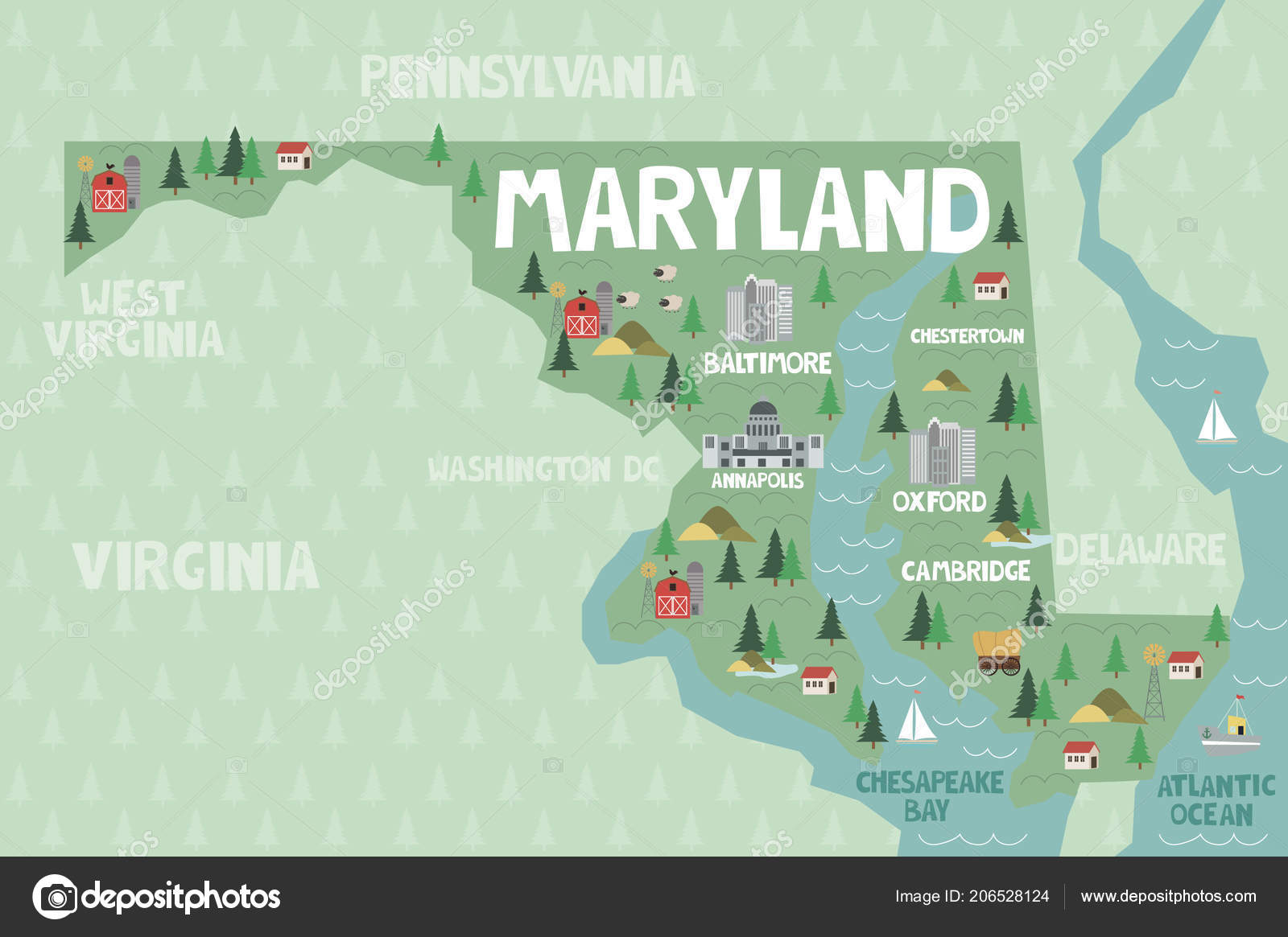 Illustrated Map State Maryland United States Cities Landmarks ...