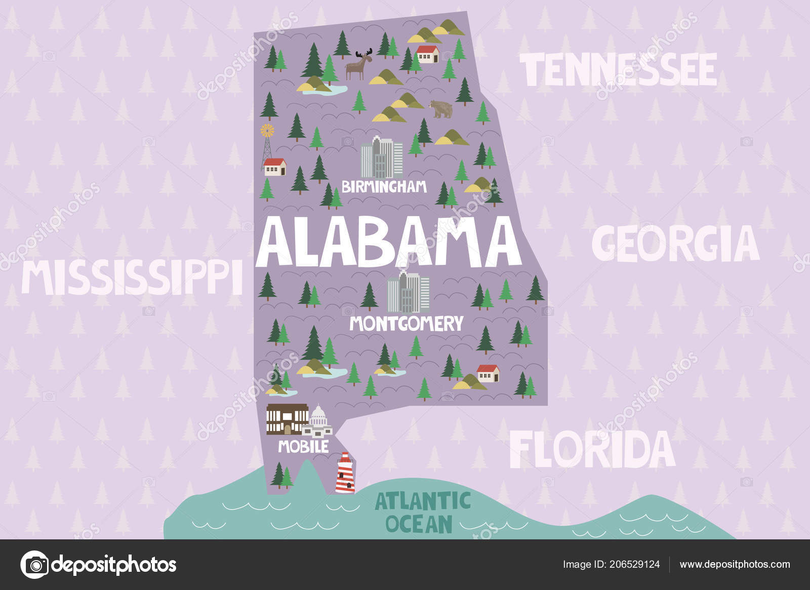 Alabama United States Map.Illustrated Map State Alabama United States Cities Landmarks