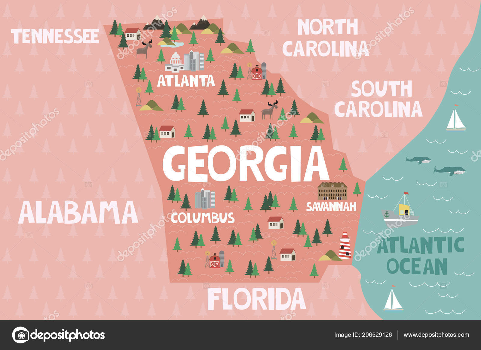 Map Of Florida And Georgia Cities.Illustrated Map State Georgia United States Cities Landmarks