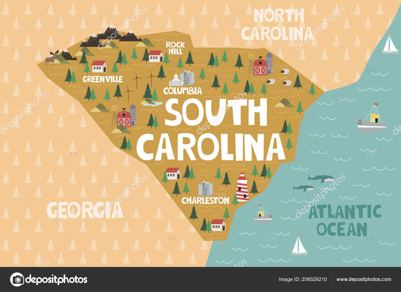 State South Carolina Map.Illustrated Map State South Carolina United States Cities Landmarks