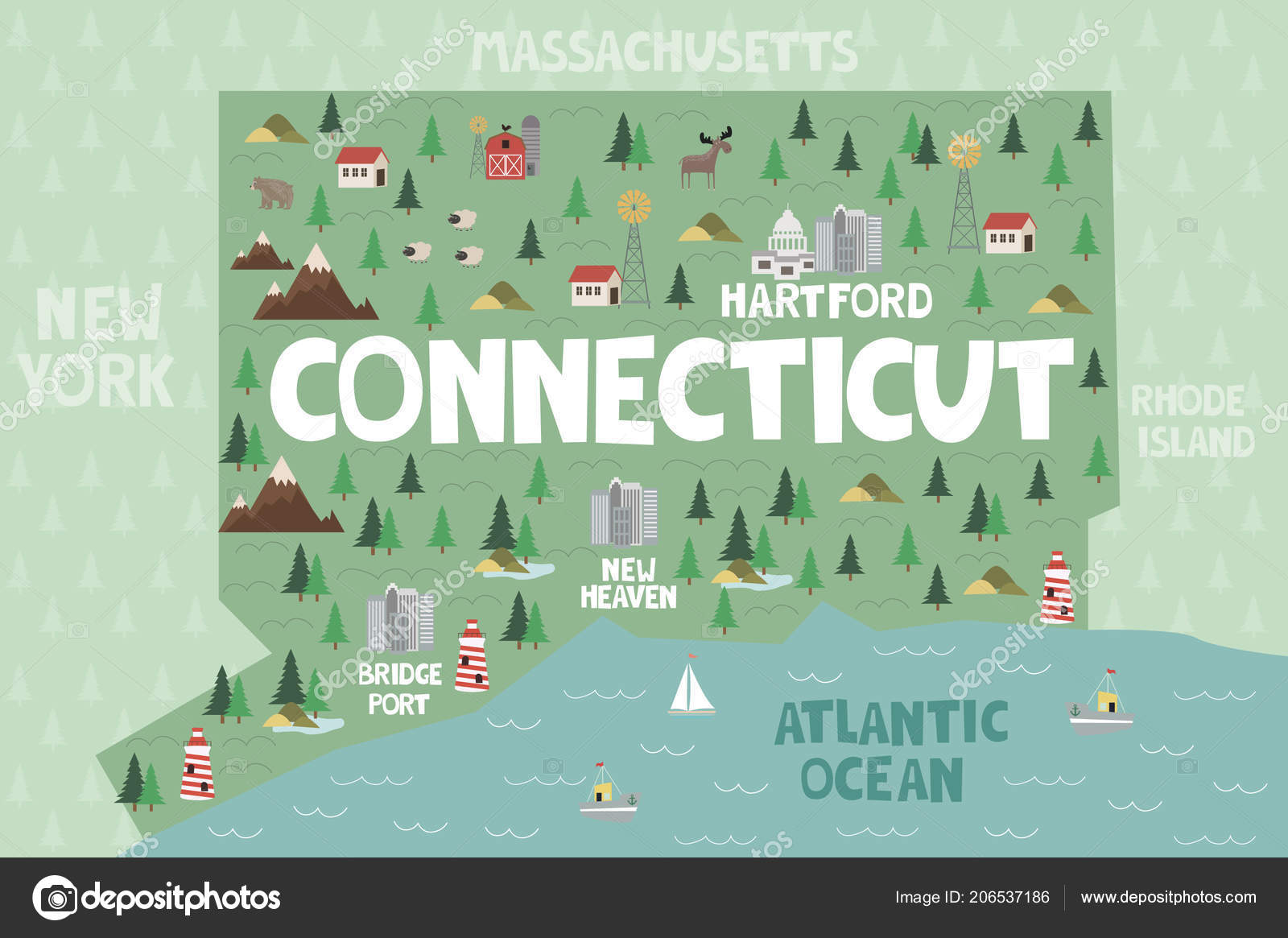 Illustrated Map State Connecticut United States Cities Landmarks ...