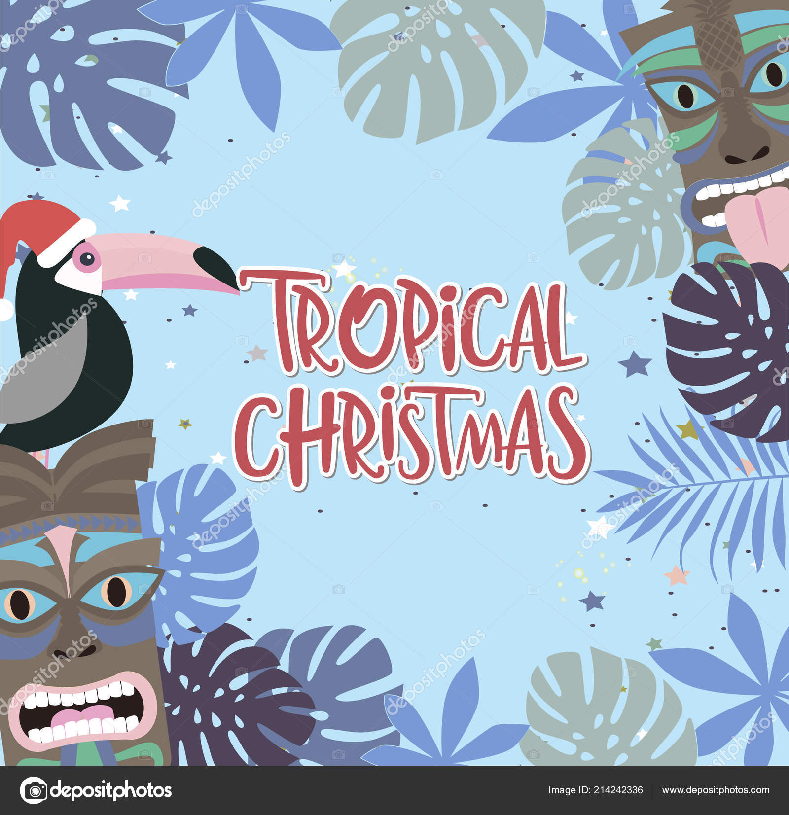 Christmas poster with fun hawaiian