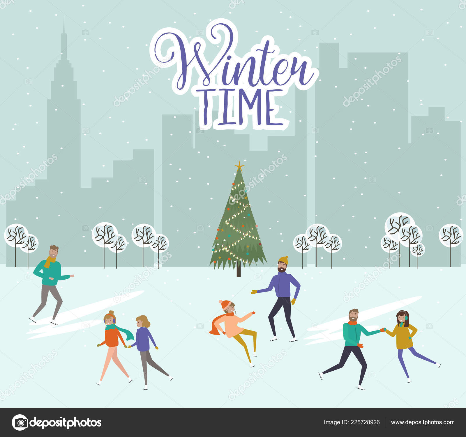merry christmas happy new year template people ice skating winter stock vector