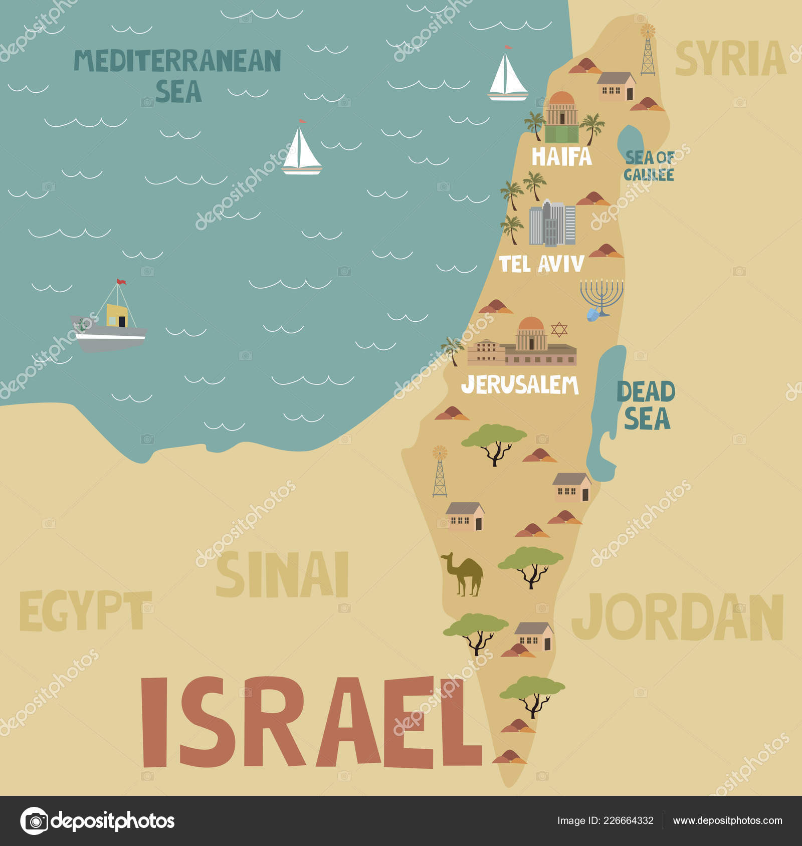 Illustration Map Israel City Landmarks Nature Editable Vector ...
