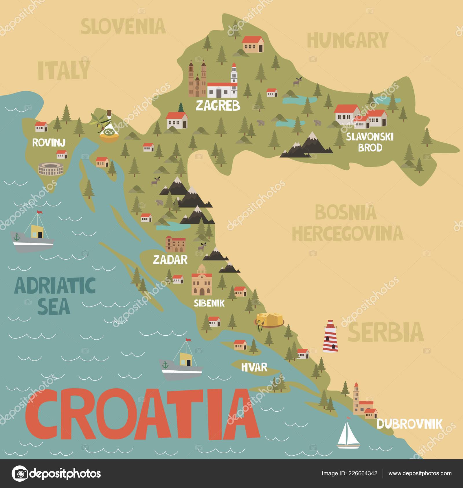 Carte Croatie A Telecharger.Carte Illustration Croatie Avec Ville Monuments Nature