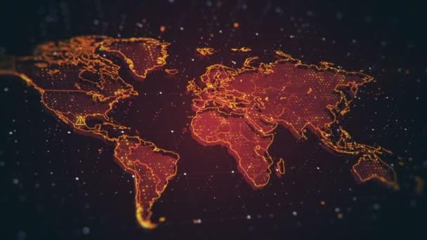 das futuristische High-Tech-Video mit einer Weltkarte. Dieses Video widmet sich dem aktuellen Problem der Sicherheit des Planeten, der schlechten Ökologie, der sozialen und politischen Probleme.
