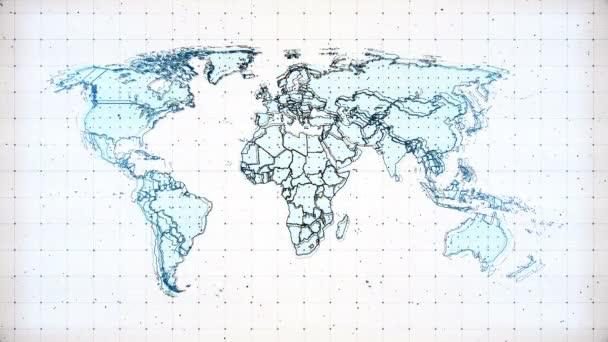 High-Tech-Animation mit futuristischen Elementen. Das Radar scannt eine Weltkarte und erkennt eine Gefahr auf der Erde. Dieses Projekt widmet sich dem aktuellen Problem der Sicherheit des Planeten, der schlechten Ökologie, der sozialen und politischen Probleme.