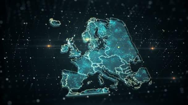 Futuristické high-tech video s mapou Evropy. Toto video je věnováno skutečnému problému bezpečnosti planety, špatné ekologie, sociálních a politických problémů..