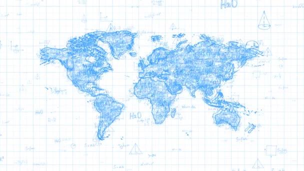 Abstraktní mapa světa se opakující se náhodnými matematickými a fyzickými vzorci.