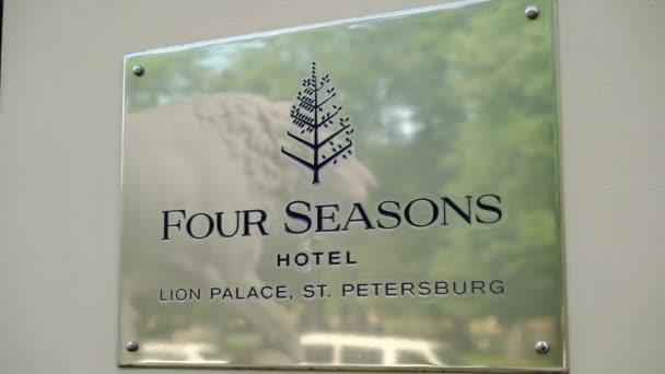 San Pietroburgo, Russia-2 giugno 2018: Piastra Four Seasons hotel