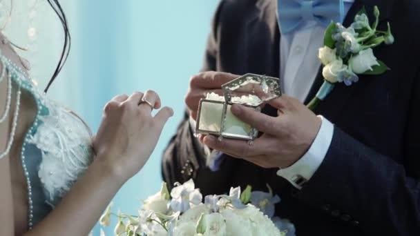 Sposa e sposo messo su anelli di nozze