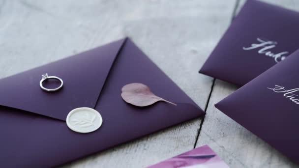 Proposal ring on violet background