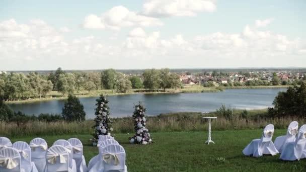 Hochzeit Zeremonie Dekoration Im Freien In Einem Park In Der Nahe