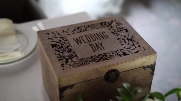 Wooden decorated box with sign wedding day