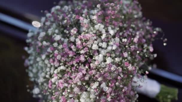 Bridal flowers bouquet with white and pink gypsophila