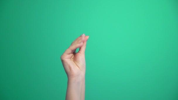 Ženská ruka, chytni prsty. Gesto, podpis, symbol. Komunikace bez rozhovoru.