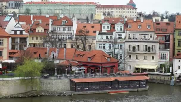 PRAGUE, CZECH REPUBLIC - MARCH 26, 2019: View on Vltava river and historical center of Prague, buildings and landmarks of old town, Prague, Czech Republic