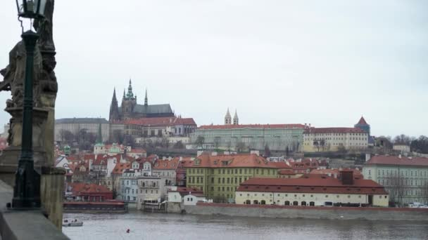View on Vltava river and historical center of Prague, buildings and landmarks of old town, Prague, Czech Republic