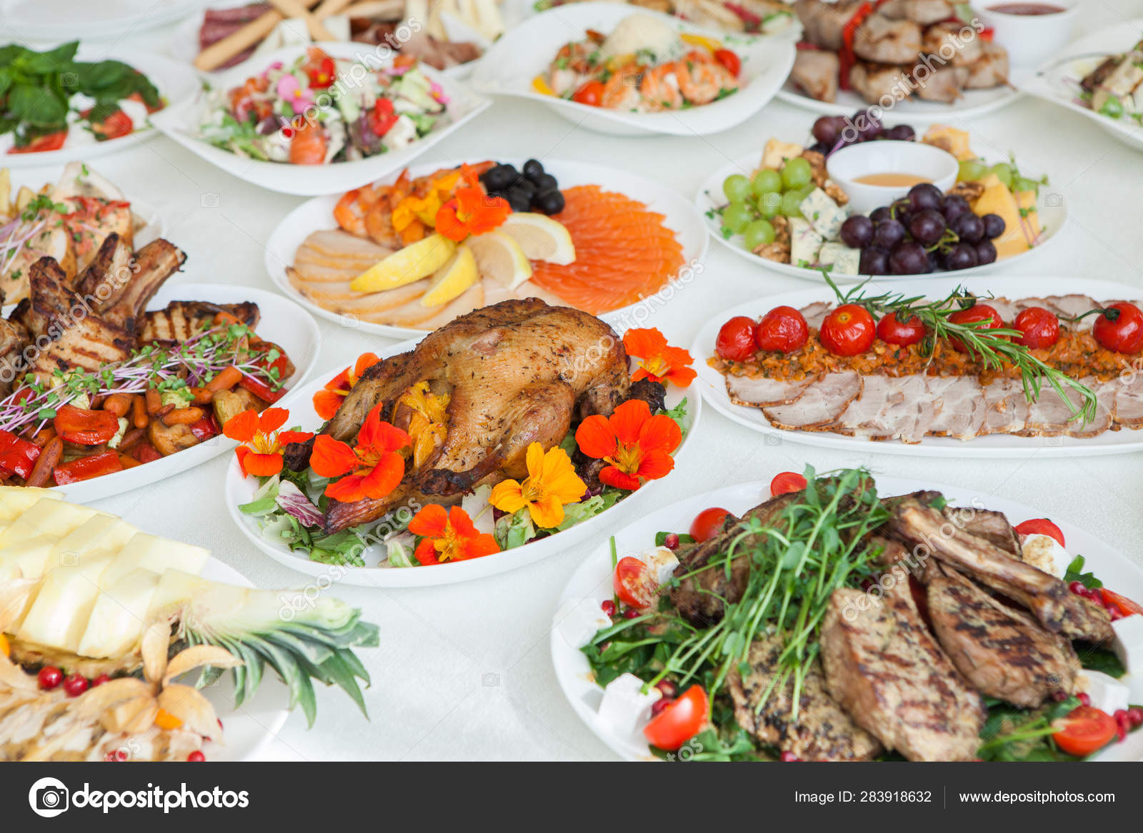 Round Table Family Night Buffet.Beautiful Festive Table Served Wedding Celebration Dinner Home