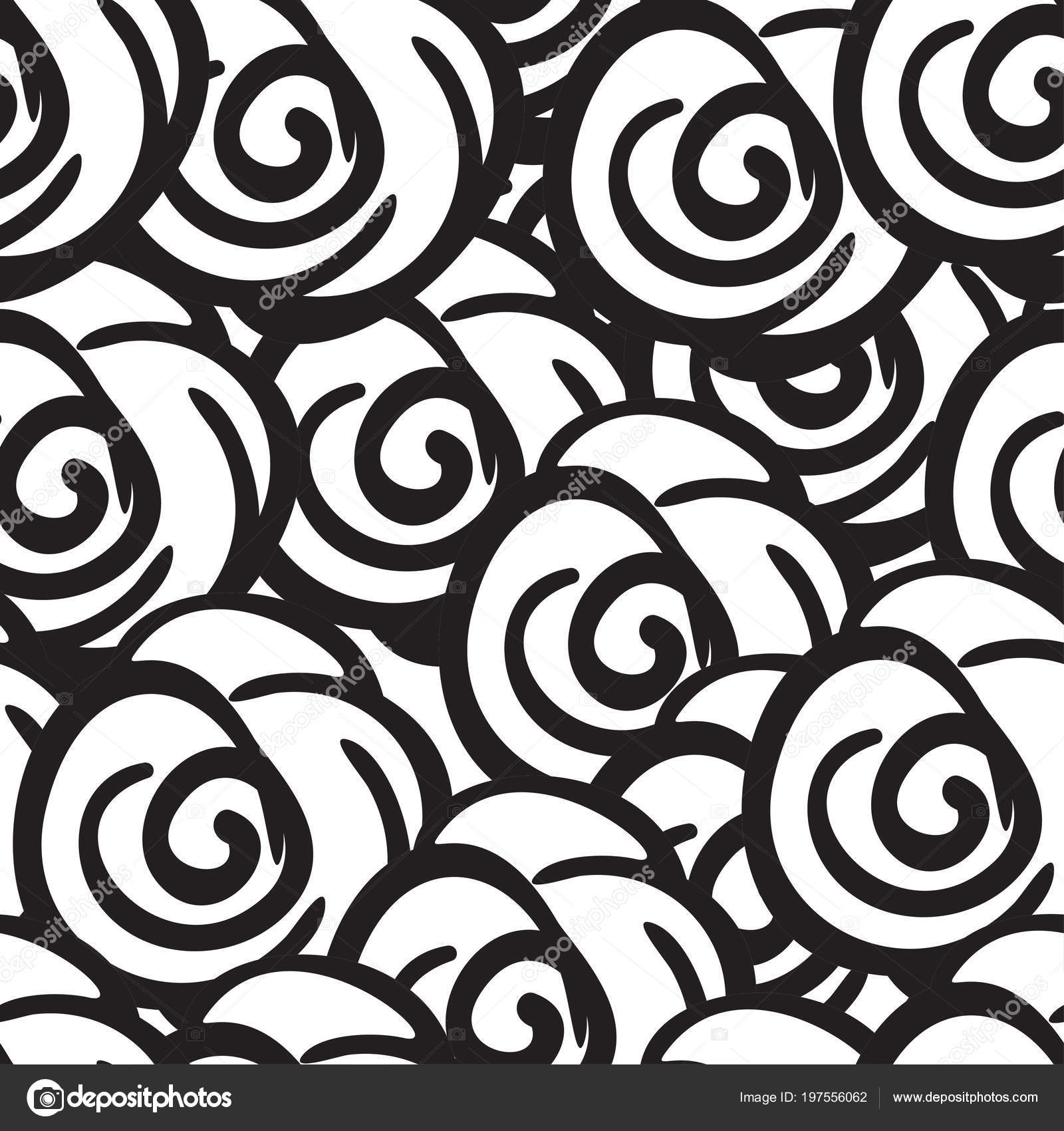 Black And White Rose Flowers Seamless Digital Hand Drawn Ink Pattern