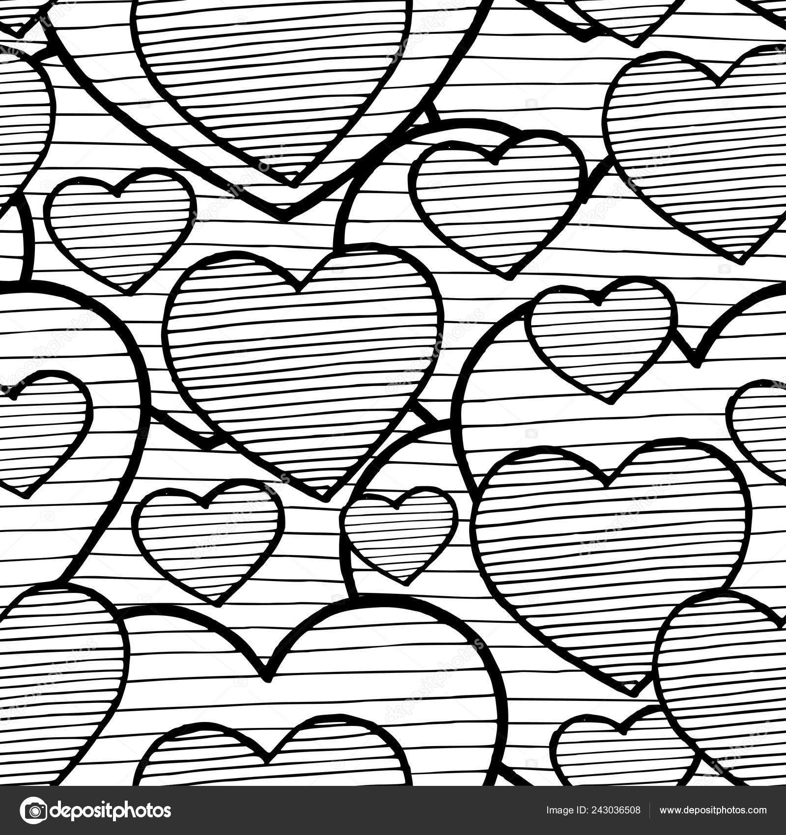 Fond De Doodle Avec Coeurs Noir Et Blanc De Lamour Vector