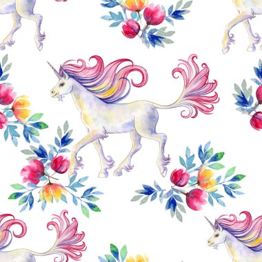 Seamless texture with magic unicorns on the background of bright watercolor flowers. Watercolor background