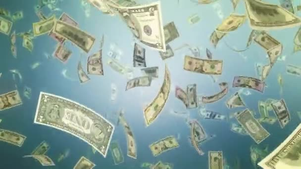 Falling Dollar bills currency flying money wall animation HD loop