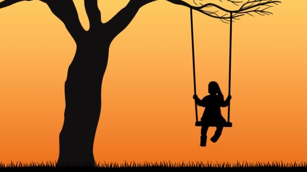 Kid on Swing Silhouette Video Vector Cartoon Animation Background Loop HD