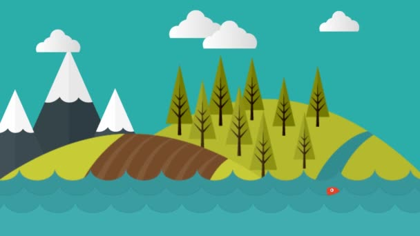 Mountain Water Scenery Video Motion Graphics Animation Background Loop HD