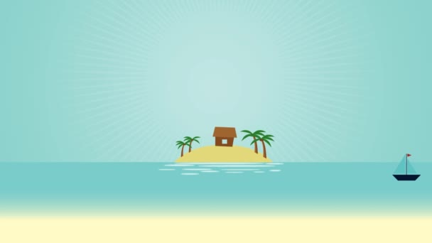 Island Water Scenery Video Motion Graphics Animation Background Loop HD