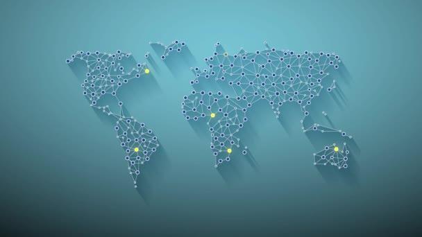 Globální síť světa mapa animace Video Motion grafika animace pozadí