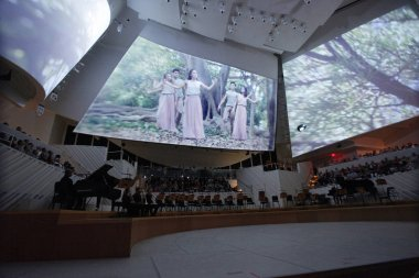 MIAMI, FLORIDA - JAN 20, 2018  The New World Symphony celebrates 7 years of creating audiovisual performances with projections on the concert hall sails