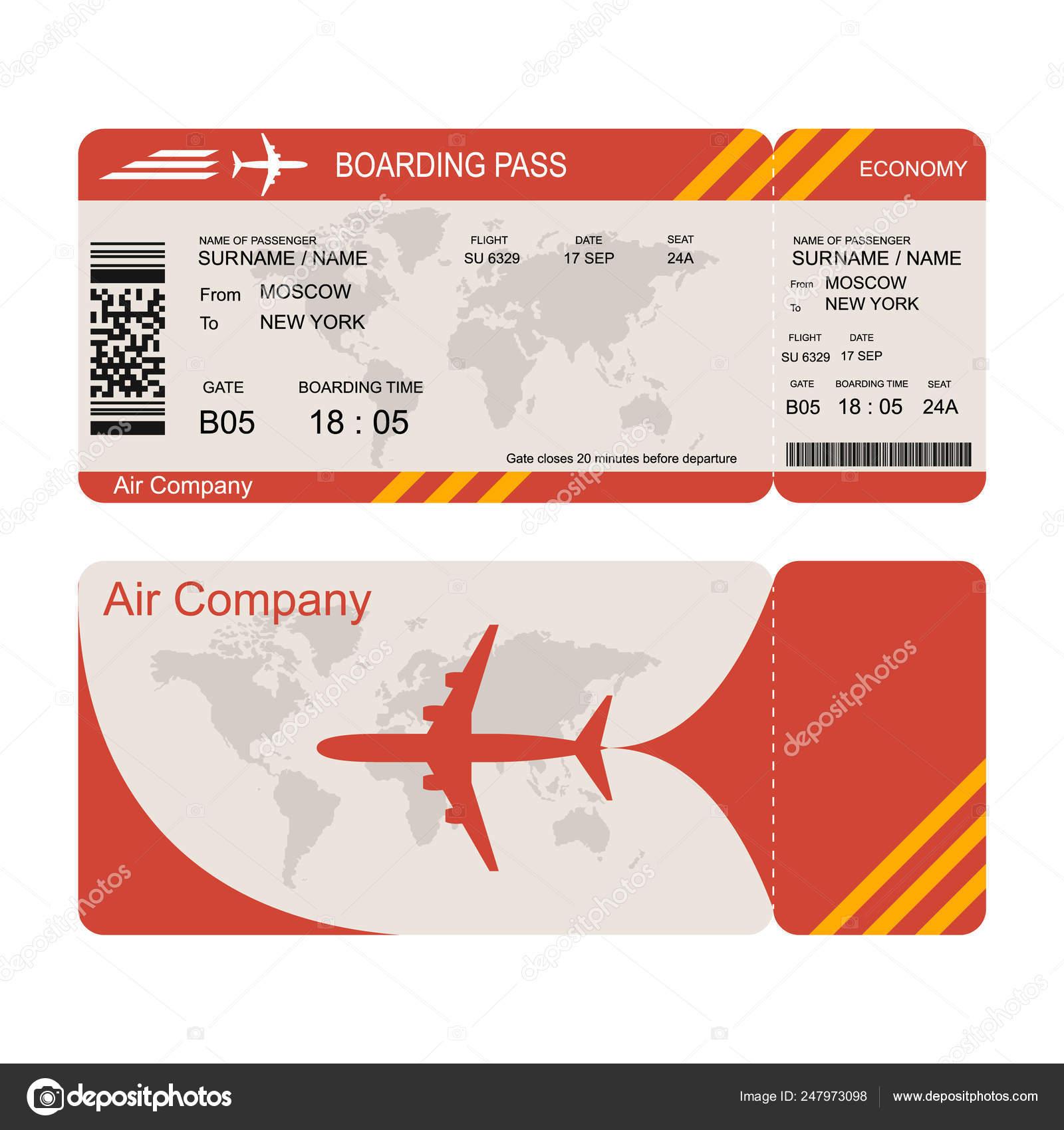 Flight Ticket Sample Picture Plane Ticket Template Air Economy Flight Stock Vector C Poganka06 247973098
