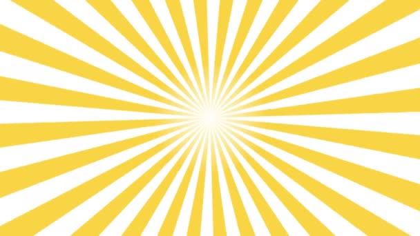 Sárga és fehér sunburst kör és a háttér minta animáció. Hát Pop Art stílusban sárga háttér mozgás videóinak 4k