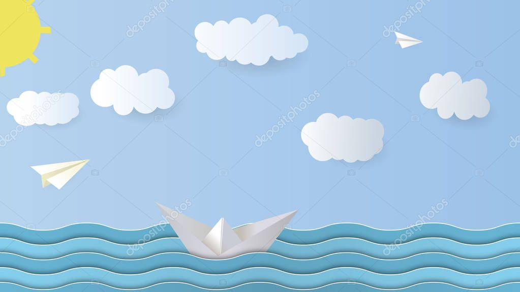 Vector Paper Background. Paper boat, airplane, sea, sky, cloud sun Origami Vector Illustration. Aspect Ratio 16: 9 fullhd 4K.