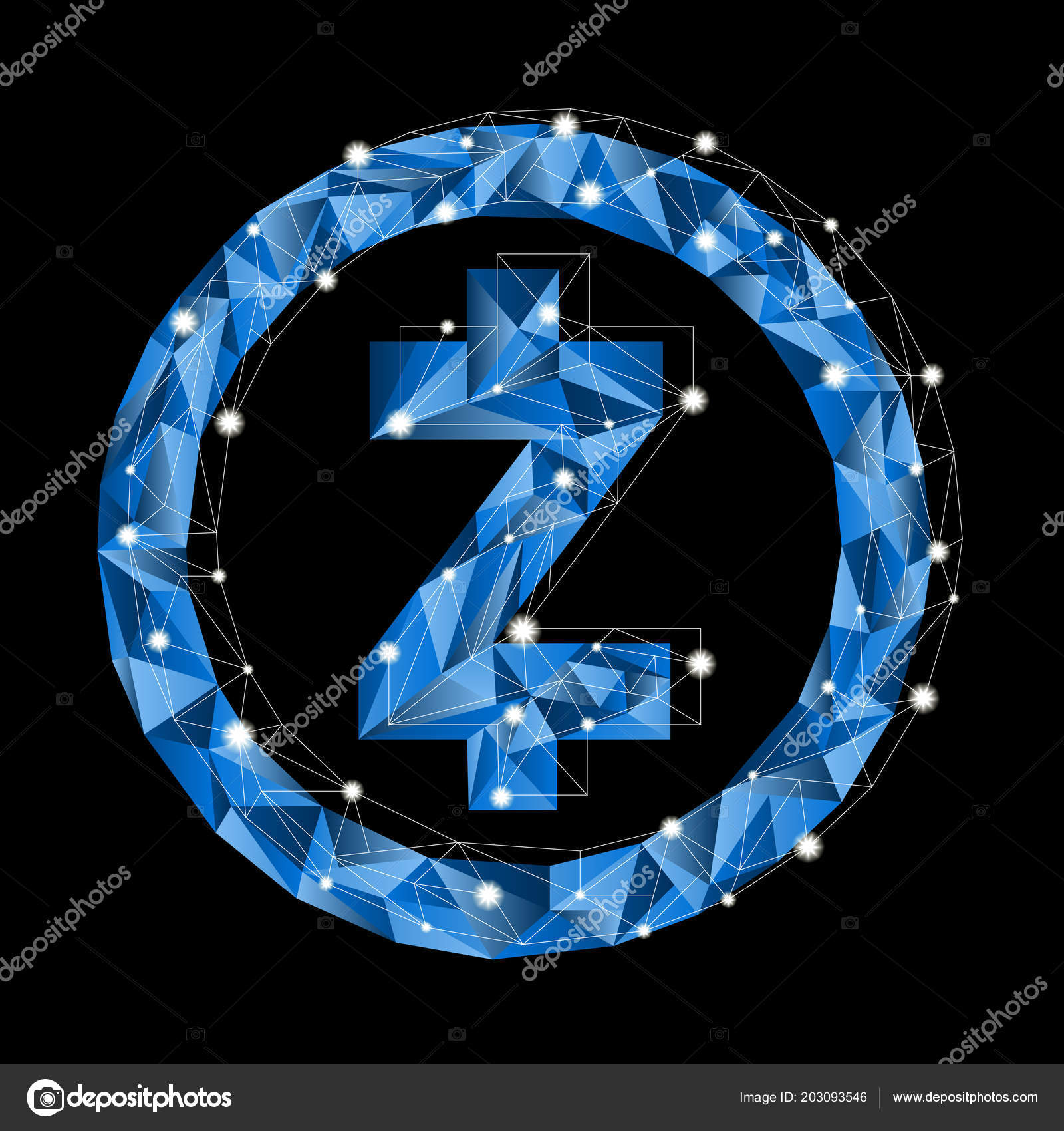 Low Poly Vector Symbol Crypto Currency Blue Zcash