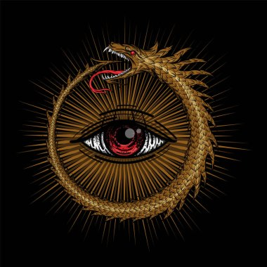 Vector Egyptian symbol uroboros. Snake in the form of a ring biting itself by the tail on a black background