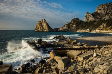 Beautiful seascape with waves in Simeiz in Crimea in Russia