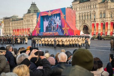 MOSCOW - NOVEMBER 07,2018:  Military parade dedicated to the hisorical parade held in 1941 on the Red Square.  Public event.