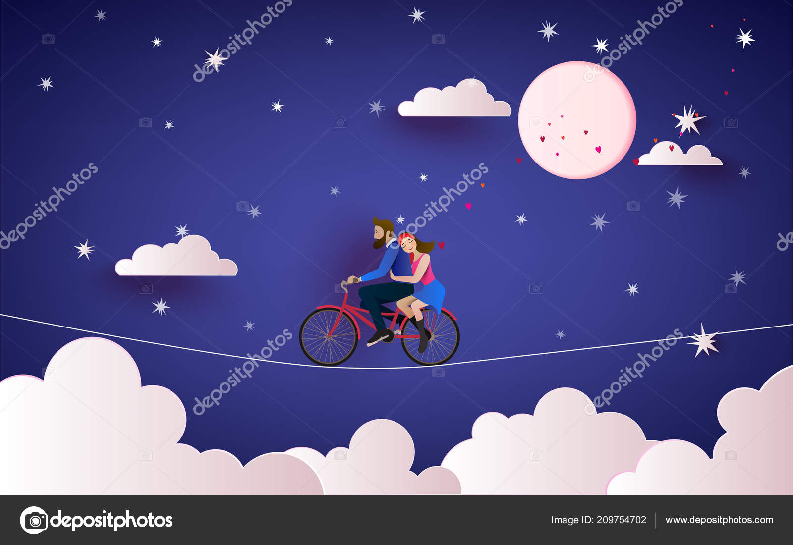 Couple Riding Bicycle Night Sky Love Concept Happy Valentine