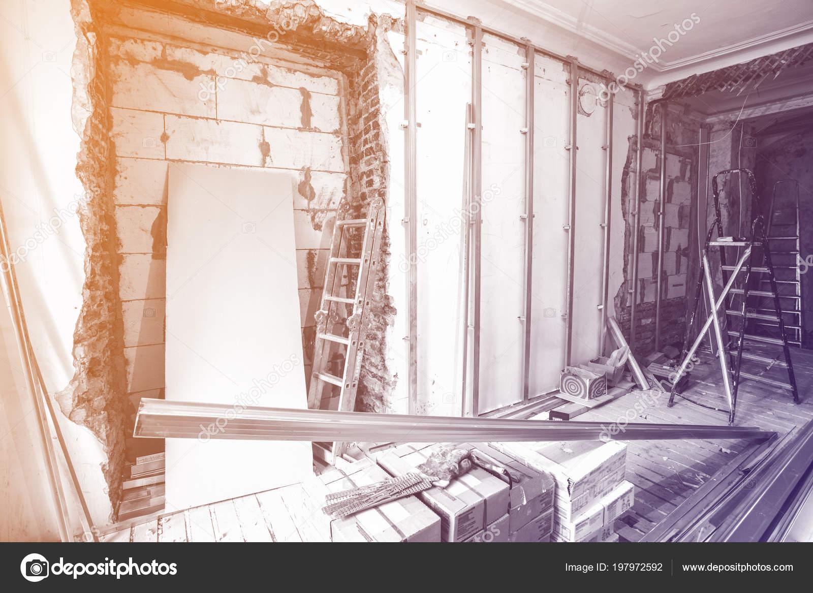 Escaleras Herramientas Construcción Interior Habitación Durante ...