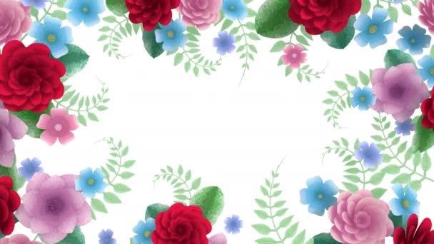 Toon virágok növekvő, megjelenő, botanikai háttér, dekoratív keret, üres hely a szöveg, ceruza stílusú rajzfilm, DIY projekt, intro, elszigetelt fehér háttér, ideális cím