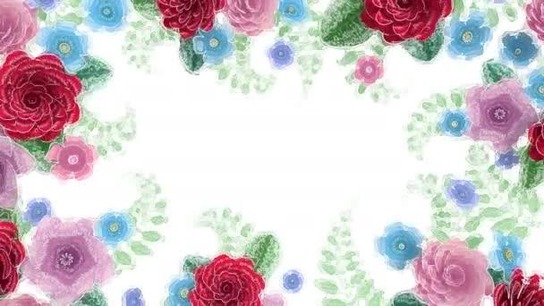 Aquarell-Zeichnung Blumen wachsen, erscheinen, botanischer Hintergrund, dekorativer Rahmen, Leerraum für Text, Aqua-Stil Cartoon, diy Projekt, Intro, isoliert auf weißem Hintergrund, ideal für Titel