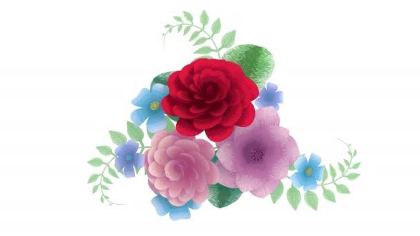 3D renderelés, növekvő virágos háttér virágok, virágzó botanikai minta, menyasszonyi kerek csokor, cukorka pasztell színek, fényes árnyalatú paletta, 4k animáció, elszigetelt fehér háttér
