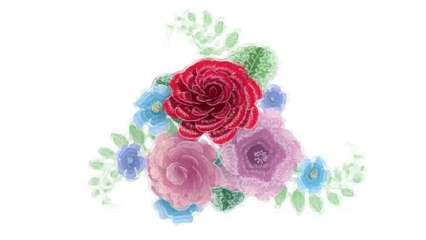 3D vykreslování, rostoucí květinové pozadí, kvetoucí botanický vzor, styl kresby akvarel, svatební kulaté kytice, pastelové barvy, barevná paleta, animace izolace na bílém pozadí