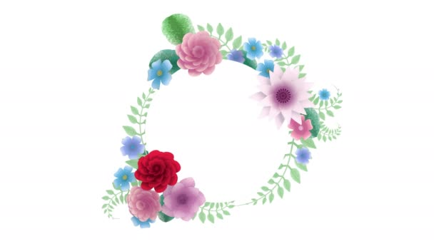 3D-Rendering, wachsende florale Hintergrundblumen, blühender botanischer Kreisrahmen, Brautrundtitelplatz, Pastellfarben, Animation, Diy-Projekt, Intro, isoliert auf weißem Hintergrund, ideal für Titel