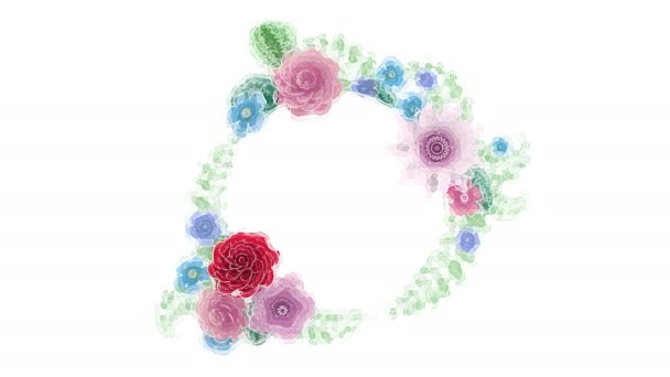 Akvarell rajz növekvő virágos háttér virágok, virágzó botanikai kör keret, kerek cím hely, Aqua színek, animáció, DIY projekt, intro, elszigetelt fehér háttér, ideális cím