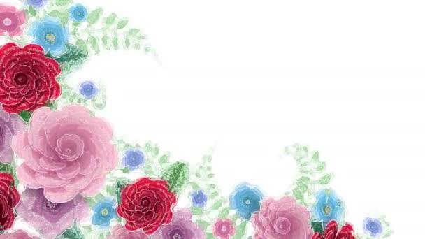 Akvarell rajz virágok növekvő, megjelenő, botanikai háttér, dekoratív sarok keret, üres hely a szöveg, Aqua stílusú rajzfilm, DIY projekt, elszigetelt fehér háttér, ideális cím
