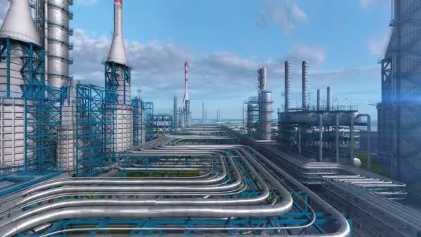 Továrna na rafinerie ropy a zemního plynu, průmyslová oblast ropného průmyslu, potrubní a olejová nádrž na modré denní obloze. Abstraktní hladký pohyb kamery, vzdušné drby nad střelou z rostlin. 3D generovaný obraz.