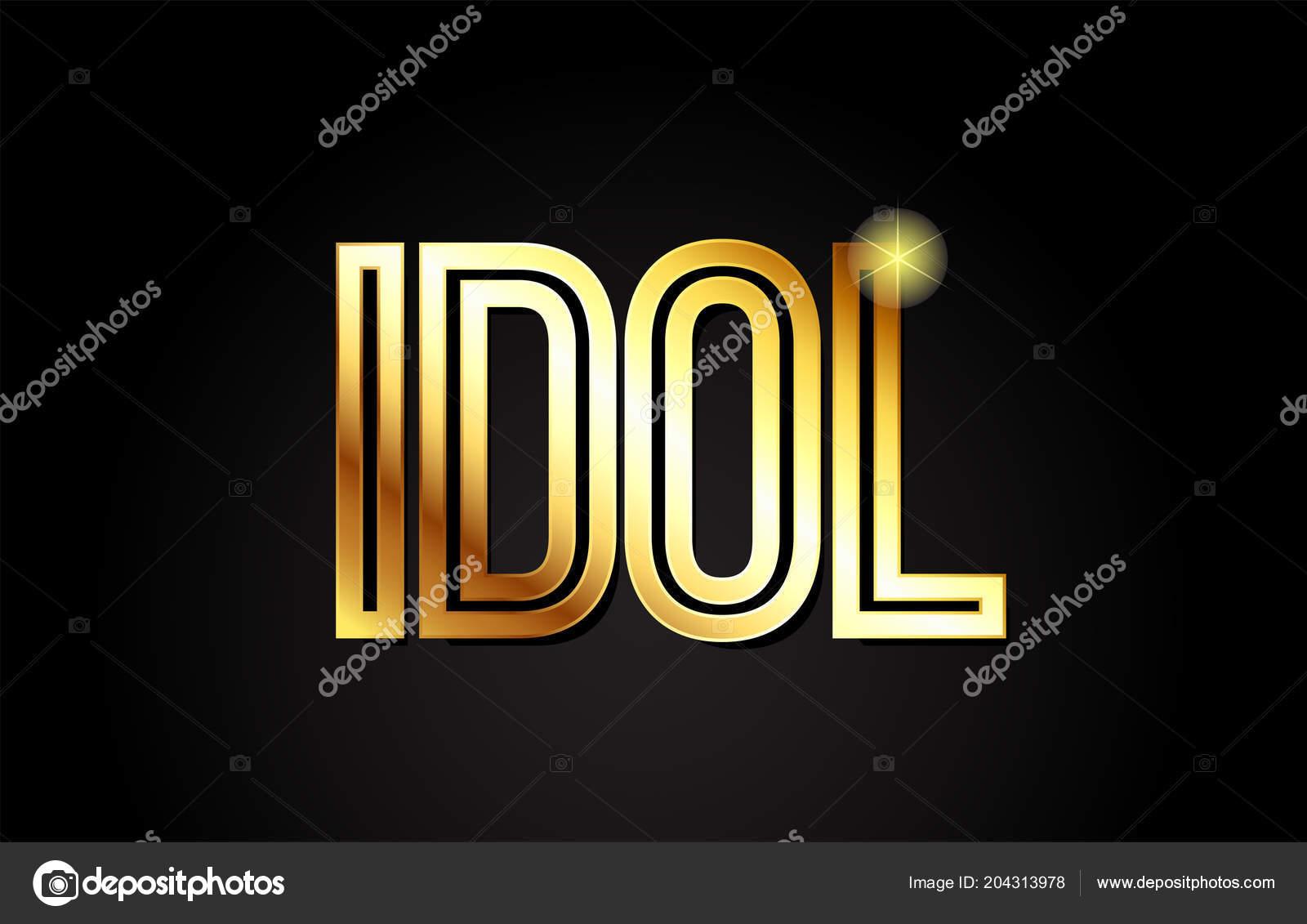 idol word typography design gold golden color suitable logo banner